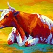 Longhorn Cow Print by Marion Rose