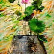 Lotus Tree In Big Jar Print by Atiketta Sangasaeng