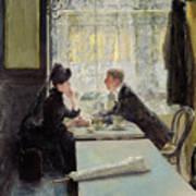 Lovers In A Cafe Print by Gotthardt Johann Kuehl