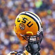 Lsu Helmet Raised High Print by Louisiana State University