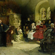 Luther Preaches Using His Bible Translation While Imprisoned At Wartburg Print by Hugo Vogel