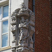 Madonna And Child Statue On The Corner Of A House In Bruges Print by Louise Heusinkveld