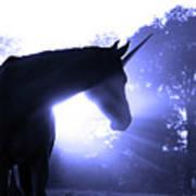 Magic Unicorn In Blue Print by Sari ONeal