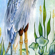 Majestic Blue Heron Print by Lyse Anthony