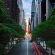 Manhattanhenge From 42nd Street, New York City Print by Andrew C Mace