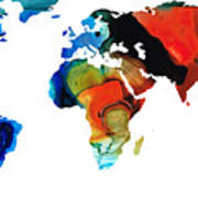 Map Of The World 3 -colorful Abstract Art Print by Sharon Cummings