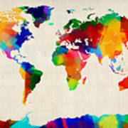 Map Of The World Map Print by Michael Tompsett