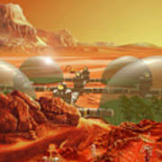 Mars Colony Print by Don Dixon
