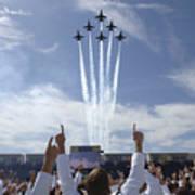 Members Of The U.s. Naval Academy Cheer Print by Stocktrek Images