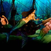 Mermaid Shipwreck  Print by Tray Mead