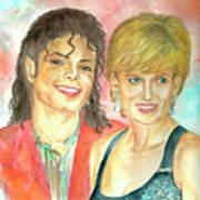 Michael Jackson And Princess Diana Print by Nicole Wang
