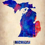 Michigan Watercolor Map Print by Naxart Studio