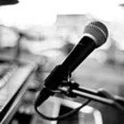 Microphone On Empty Stage Print by Image By Randymsantaana