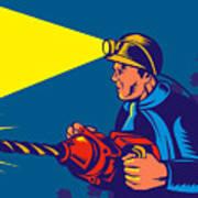 Miner With Jack Drill Print by Aloysius Patrimonio