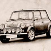 Mini Cooper Sketch Print by Michael Tompsett