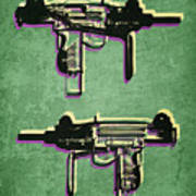 Mini Uzi Sub Machine Gun On Green Print by Michael Tompsett
