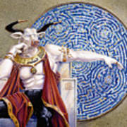 Minotaur With Mosaic Print by Melissa A Benson