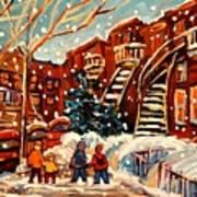 Montreal Street In Winter Print by Carole Spandau