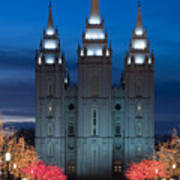 Mormon Temple Christmas Lights Print by Utah Images