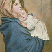 Mother And Child Print by English School