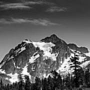 Mount Shuksan Black And White Cascade Mountains Washington Print by Brendan Reals