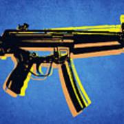 Mp5 Sub Machine Gun On Blue Print by Michael Tompsett
