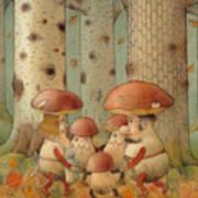 Mushrooms Print by Kestutis Kasparavicius