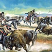Native American Indians Killing American Bison Print by Ron Embleton