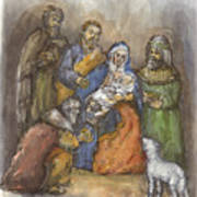Nativity Print by Walter Lynn Mosley