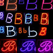 Neon Sign Series Featuring The Letter B  Print by Michael Ledray