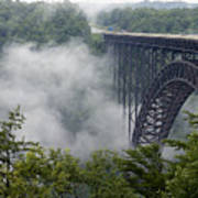 New River Gorge Bridge On A Foggy Day In West Virginia Print by Brendan Reals