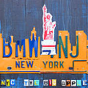 New York City Skyline License Plate Art Print by Design Turnpike