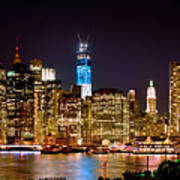 New York City Tribute In Lights And Lower Manhattan At Night Nyc Print by Jon Holiday