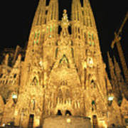 Night View Of Antoni Gaudis La Sagrada Print by Richard Nowitz
