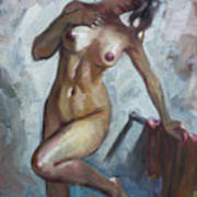 Nude In Shower Print by Ylli Haruni