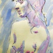 Nude Portrait Drawing Sketch Of Young Nude Woman Feeling Sensual Sexy And Lonely Watercolor Acrylic Print by M Zimmerman