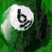 Number Six Billiards Ball Abstract Print by David G Paul