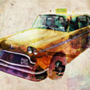 Nyc Yellow Cab Print by Michael Tompsett