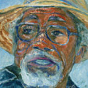 Old Man Wearing A Hat Print by Xueling Zou