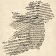 Old Sheet Music Map Of Ireland Map Print by Michael Tompsett