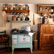 Old Time Farmhouse Kitchen Print by Carmen Del Valle