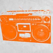 Orange Boombox Print by Naxart Studio