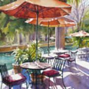Orange Umbrellas Print by Sue Zimmermann