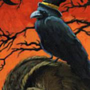 Owl And Crow Halloween Print by Linda Apple