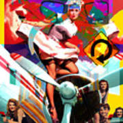 Paint Brush Girls Print by Robert Anderson