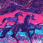 Painted Horses Below The Wind Print by Carol  Law Conklin