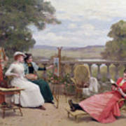 Painting On The Terrace Print by Jules Frederic Ballavoine