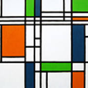 Parallel Lines Composition With Blue Green And Orange In Opposition Print by Oliver Johnston