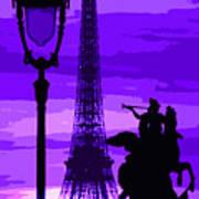 Paris Tour Eiffel Violet Print by Yuriy  Shevchuk