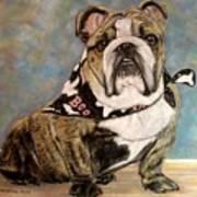 Pastel English Brindle Bull Dog Print by Patricia L Davidson